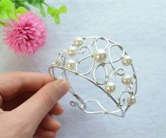 Woven Bracelet With Pearls and Silver Wires- a Particular Gift for Your Best…