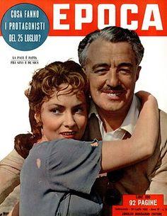 Gina Lollobrigida and Vittorio De Sica on a weekly magazine cover