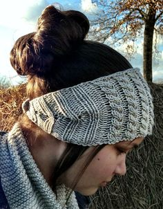 Free Knitting Pattern for Cablerimetry Headband - This earwarmer features a cable panel across the top and ribbed sides shaped using short rows. Designed by by Meg White. Pictured project by sew42mom