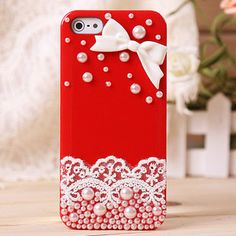 Lace Bow Pearl Rhinestone Hard Cover Case For Iphone 4/4s/5. Personally I would like it better in pink