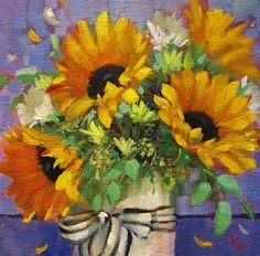 """- """"Its alright"""" - Original Fine Art for Sale - © Krista Eaton Flower Painting Canvas, Painting Flowers, Art Flowers, Sunflower Art, Still Life Art, People Art, Watercolor Paintings, Watercolors, Pictures To Paint"""