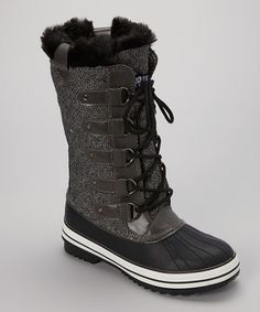 Look what I found on #zulily! Transco Black & Gray Lace-Up Snow Boot by Transco #zulilyfinds