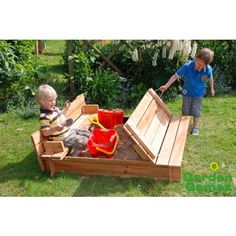 The Wooden Square Sandpit with benches and cover is a very clever design indeed. It features a built in wooden cover which folds open to provide 2 benches which children can sit on whilst they dig, build and play with the sand. The wooden square sandpit i