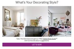 Want to know your signature style? Take the Style Quiz and get a free Digital Style Guide with furniture and decor selections Signature Style, Furniture Decor, Style Guides, Decor Styles, Diy Home Decor, Bohemian, Decorating, Fashion Decor, Decorating Ideas