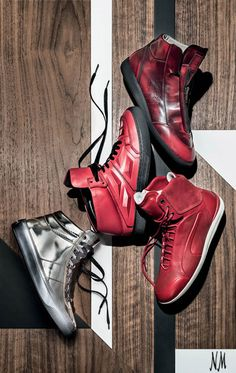 The fever for statement high-top men sneakers continues with these new bright red and silver styles by Maison Martin Margiela, Alejandro Ingelmo, Puma and Jimmy Choo. Find the sneakers that fit your style at Neiman Marcus.