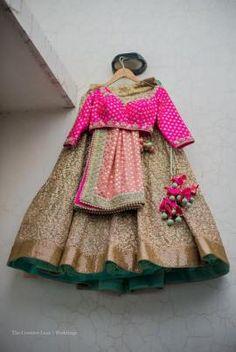 Bridal Lehengas - Hot PInk Blouse with Mint Green Shimmer Lehenga and Dull Pink Dupatta | WedMeGood
