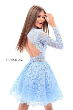 Lovely short, blue prom dress by Tarik Ediz