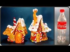Hello, in this video tutorial I show you how I made a Christmas gingerbread fairy house lamp using plastic bottles, tin foil, paint, hot glue and paper clay . Plastic Bottle House, Plastic Bottle Crafts, Plastic Bottles, Christmas Fairy, Christmas Gingerbread, Christmas Crafts, Halloween Fairy, Clay Fairy House, Fairy Houses