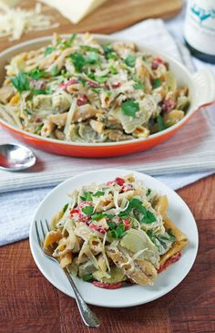 20-Minute Healthy Ricotta Pasta with Red Peppers and Artichokes - www.thelawstudent... #vegetarian #recipe
