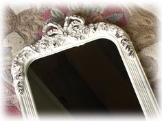 Wall Mirror Shabby Cottage Chic Vintage Painted White Distressed Antique Look