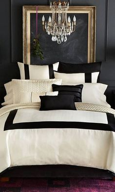 The impact of bedroom furniture will make you have a good night's sleep. Let's face it, and a modern bedroom furniture design can easily make it happen. Black White And Gold Bedroom, Black Walls, White Walls, Gold Bedroom Decor, Modern Bedroom Furniture, Bedroom Ideas, Headboard Ideas, Furniture Ideas, White Bedroom Black Furniture