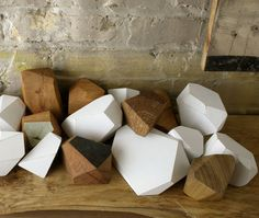 """Wooden faceted """"rocks"""" by Kindling."""