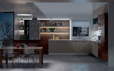 Cucina angolare moderna - Composizione 0463 - Vista notturna