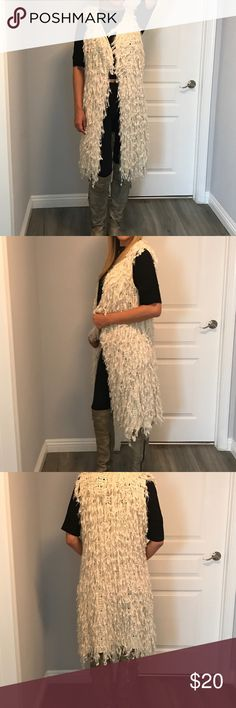 Long Furry Vest Size Small You need to jazz up plain leggings , get this furry cute festive , super cute to wear over shorts or leggings with boots Jackets & Coats Vests