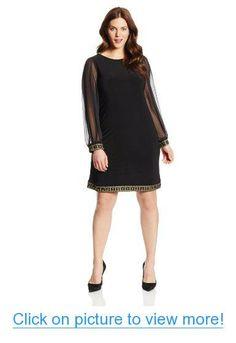 Tiana B Women's Plus-Size Long Sleeve Beaded Trim Chiffon Dress