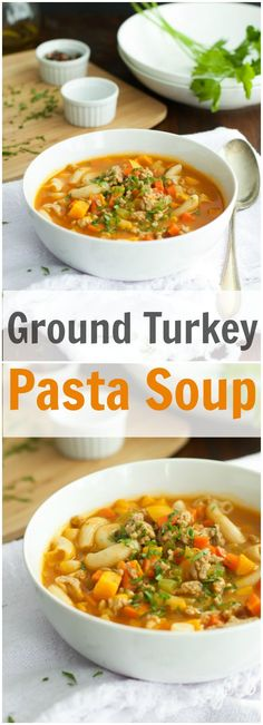 This delicious Ground Turkey Pasta Soup has an awesome texture and flavourful. It is gluten free and loaded with ground turkey, celery, carrots and yellow peppers. primaverakitchen.com