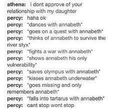 I laughed for like five minutes at this... perfection! Percabeth is my favorite ship and by far the best! My otp Percy Jackson Memes, Percy Jackson Books, Percy Jackson Ships, Percy Jackson Fandom, Seaweed Brain, Olympians, Camp Half Bloods, Greek Mythology, Pj