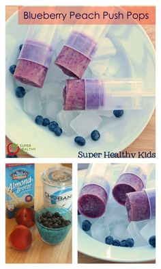 """Blueberry Peach Push Pops - Remember """"Push Up"""" Ice cream when we were kids?  Such an easy way to eat drippy ice cream. Now though, you can use your own recipe and fill your own push ups. http://www.superhealthykids.com/blueberry-peach-push-pops/"""