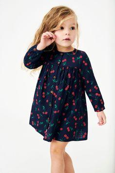 Girls Next Navy Cherry Print Button Through Dress - Blue Kids Dress Wear, Toddler Girl Outfits, Little Girl Dresses, Kids Outfits, Girls Dresses, Toddler Girls, Baby Girl Fashion, Toddler Fashion, Kids Fashion