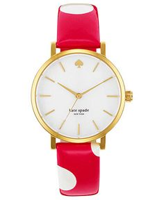 kate spade new york Watch, Women's Metro Pink Polka Dot Leather Strap 34mm 1YRU0224 - All Watches - Jewelry & Watches - Macy's