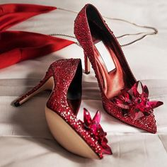 Jimmy Choo: Shoes of dreams. The ruby red crystal covered AVRIL pumps will elevate any evening gown. Wedding High Heels, Prom Heels, Wedding Shoes, Red Bridal Shoes, Gown Wedding, Wedding Bells, Wedding Bride, Wedding Dresses, Pretty Shoes