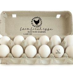 Custom Chicken Stamp - Large Egg Carton Label - Farm Fresh Eggs Carton - Chicken Coop Dozen Egg Carton - Backyard Chicken Egg Packaging by SouthernPaperAndInk on Etsy