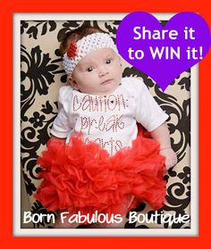 "Win this baby outfit for Valentines Day!  Tutu onesie says ""Caution I break hearts""!  Just share on your facebook page!  https://www.facebook.com/photo.php?fbid=10151196922716536=a.187222806535.137061.49224381535=1"
