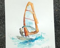 Surf art windsurf painting print surfboard surf by Zendrawing