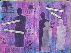Blue Moon Journaling: Dylusions spray ink, acrylic paint,stencil, stamps...