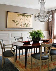 Light chairs, dark table