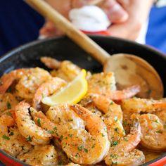 Garlic Butter Shrimp Recipe Main Dishes with unsalted butter, medium shrimp, kosher salt, ground black pepper, garlic, chicken stock, lemon, fresh parsley leaves