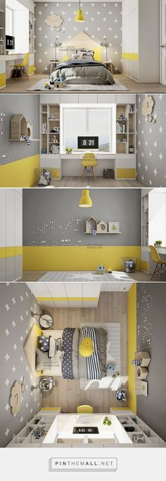 Kids' Room: yellow accents within a pale grey, white and lig.- Kids' Room: yellow accents within a pale grey, white and light woodtone scheme. … Kids' Room: yellow accents within a pale grey, white and light woodtone scheme. Boys Bedroom Furniture, Bedroom Furniture Makeover, Bedroom Decor, Bedroom Kids, Kid Bedrooms, Furniture Ideas, Grey Kids Furniture, Shared Bedrooms, Furniture Market