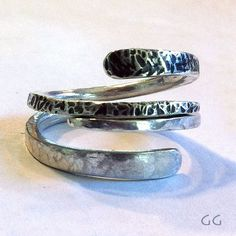 RING SILVER Hammered Forged Stackable Organic Rustic by GGoriginal, $62.00