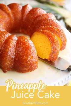 This recipe for Pineapple Juice Cake starts with a cake mix, adds pineapple juice in the batter, and then the cake is bathed in a butter-pineapple juice glaze. It's so easy, but super delicious! via Southern Bite recipes easy Köstliche Desserts, Delicious Desserts, Yummy Food, Plated Desserts, Pineapple Cake, Pineapple Juice, Pineapple Dessert Recipes, Orange Juice Cake, Lime Juice