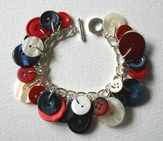 Button Charm Bracelet Royal Jubilee Red Navy and by MrsGibson, $29.50