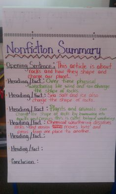 Thoughts of a Third Grade Teacher: Nonfiction Summaries. Title, pictures and the first section for opening, then summarize each section using headings (one sentence each section) Teaching Language Arts, Teaching Writing, Teaching Ideas, Teaching Style, Reading Skills, Reading Workshop, Reading Strategies, Reading Resources, Guided Reading