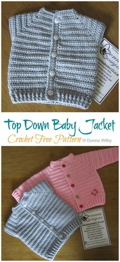 Excellent Pic Crochet baby jacket Popular Top Down Baby Jacket Crochet Free Pattern – Crochet & Knitting Crochet Baby Cardigan Free Pattern, Crochet Baby Jacket, Crochet Baby Sweaters, Baby Sweater Patterns, Baby Clothes Patterns, Crochet Baby Clothes, Baby Patterns, Baby Knitting, Crochet Patterns