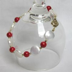 XaXe.com - White Coin freshwater pearl and red coral bead bracelet