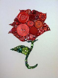 Rose Button Art, Button & Swarovski Rose by Belle Papier