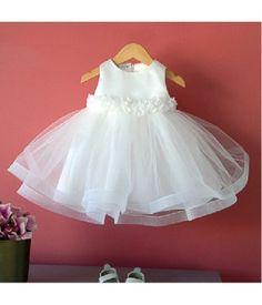 Princess Ivory Satin &Tulle  Ball Gown Flower Belt Tea Length Flower Girl Dress F6029