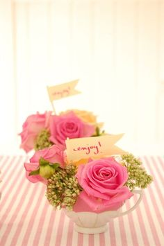 Such pretty little favors.  I would like to use them as placecard holders/gifts at a ladies tea or luncheon.