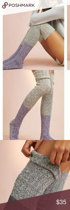 Anthropologie Lux Thigh High Socks Ombré 1pair Peony & Moss for Anthropologie cable Knit marled thigh highs -great w boots, short shorts, a long sweater dress. These are ultimate high quality- you can't walk into a target and get this or anything close- so while they are socks they are worth the price- no offers accepted the price is firm and once you wear them you will know why-please ask any questions. This is bnwt comes bagged w tags- machine washable 53% cotton 30% acrylic 15% poly 1%…