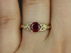 Cassidy Yellow Gold Round Ruby Celtic Knot Engagement Ring kind of