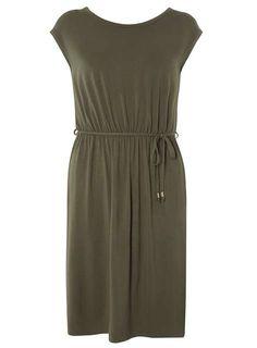 Khaki V-Back Midi Dress