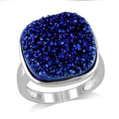 Sterling Silver Blue Cushion Druzy Ring