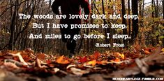 The woods are lovely dark and deep. But I have promises to keep, and miles to go before I sleep. -Robert Frost