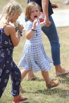 Mia Tindall joined her cousinsSavannah, seven, and Isla Phillips, six, (far left) at the ...