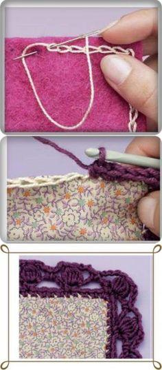 Los bordes obvyazyvanie por el gancho y la unión con su ayuda de los detalles de la tela o la piel. Crochet Borders, Crochet Stitches, Embroidery Stitches, Crochet Patterns, Crochet Gifts, Diy Crochet, 16 Patch Quilt, Sewing Box, Crochet Projects