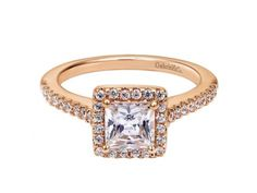 14kt rose gold diamond semi-mount ring with .30ct total weight. Center stone sold separately.