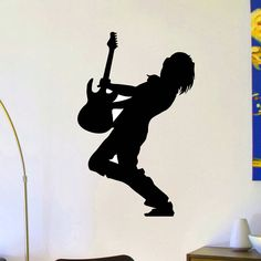 DCTOP Guitar Wall Stickers Rock Team Adhesive Stickers Removable Singer Star Silhouette Wall Decals Wall Decor #Affiliate